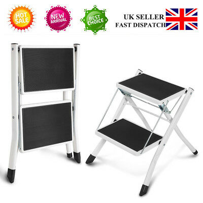 Heavy Duty Small 2 Step Steal Ladder Portable Folding Strong Safe Anti-Slip Mat