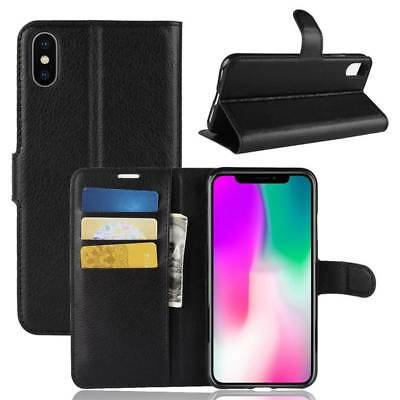 For iPhone Xs Max XR Leather Wallet Card Holder Flip Stand Back Cover Case NEW