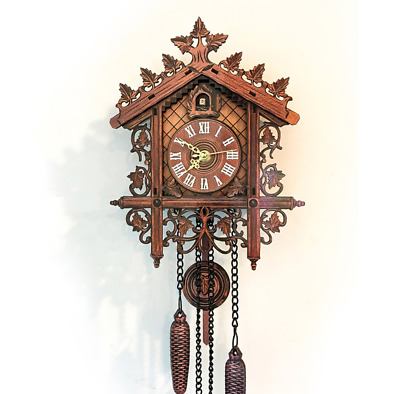 Retro Vintage Wall Clock Hanging Handcraft Wooden Cuckoo Clock Home Decoration