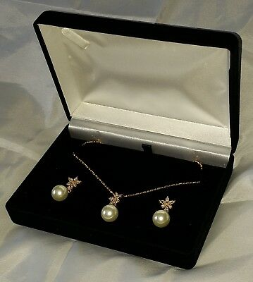 Yellow Gold Plated Pearl & Simulated Diamond Pendant,chain & Earrings Gift Boxed