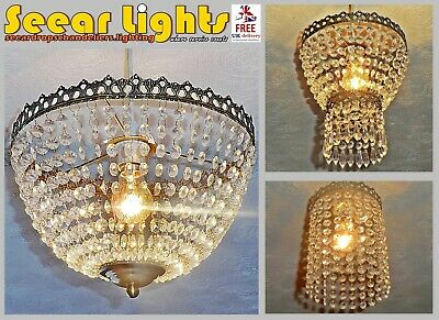 Crystal Look Chandelier Shade Light Pendant Lamp Vintage Retro Antique Lantern