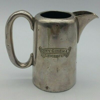 Antique Leicester City Cinema Milk Jug Walker & Hall Hard & Silver Soldered RARE