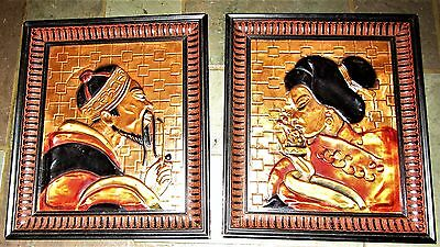 Pair Mid Century Japanese Enamel On Hammered Copper Framed Plaques Geisha & Man