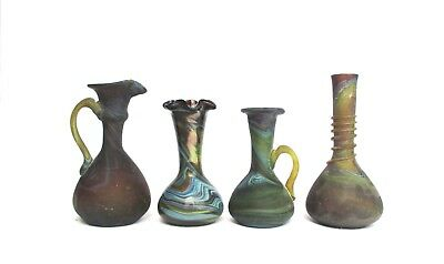 Lot of 4 Marble Glass Mini Vases, Hand-Blown Based on Ancient Roman Art Style