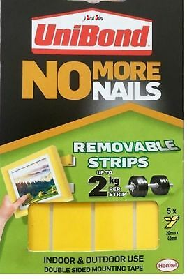 Unibond No More Nails double sided Removable Adhesive strips Pic Hang mount Tape