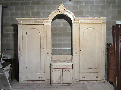 ~ Antique Carved Walnut Closet Front ~ Built In Armoire~ 120 X 108 ~ Salvage