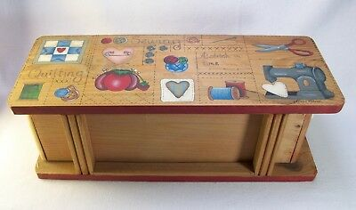 """Vintage Dianna Marcum Wooden Sewing box with Hand Painted Top Drawer Pull 14.5"""""""