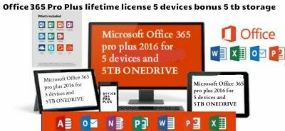 2 one drive and 365 Pro Plus Work On 5 devices Account With you name on it