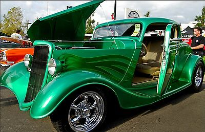 "Classic Green Ford Hot Rod  Car Mini Poster 24""x16"" HD"