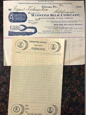 """Antique """"Winsted Silk Co"""" invoice and """"Carson Pirie Scott & Co"""" order blank 1900"""