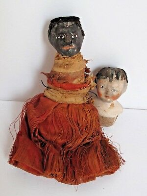 Antique Composition Pair of Doll Friends Early American Folk Art