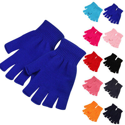 Unisex Warm Thin Cotton Blend Fingerless Elastic Knitted Gloves Mittens 1 Pair