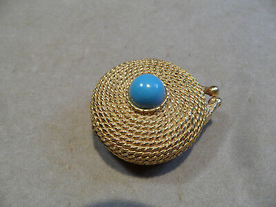 Perfume Compact Estee Lauder Golden Rope Youth Dew Vintage Pill Box Turquoise