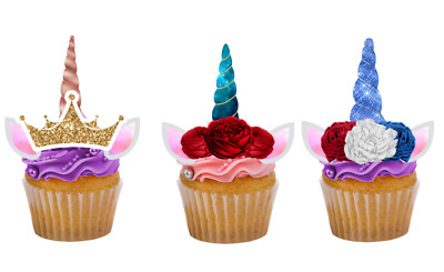 12 Diy Unicorn Horn And Ears Edible Cupcake Toppers Wafer Card