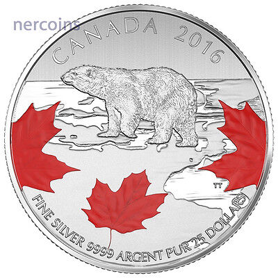 Canada 2016 True North Polar Bear $25 Pure Silver Colored Coin Perfect