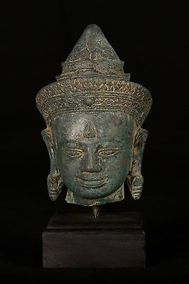19th Century Antique Khmer Bronze Buddha Head Statue - 23cm/9""