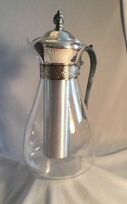 Vintage Glass Carafe W/ Aluminum Ice Tube | Lidded Decanter