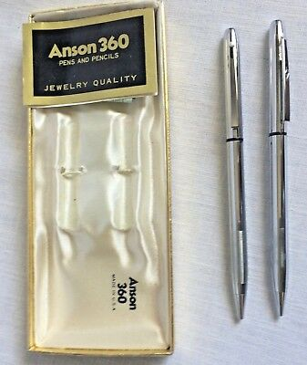 Anson 360 Mechanical Pencil and Ballpoint Chrome Pen Set Made in USA 1960s