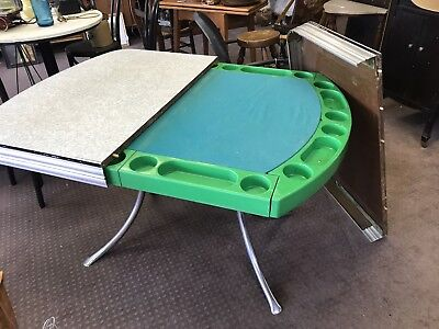 Vintage  playdine formica table , poker table & chip holders