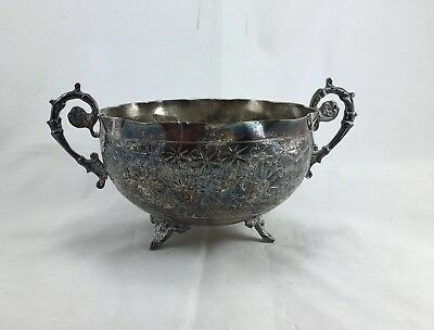 Antique Very Old Handled Footed Flower Design Engraved Metal Candy Dish/Bowl