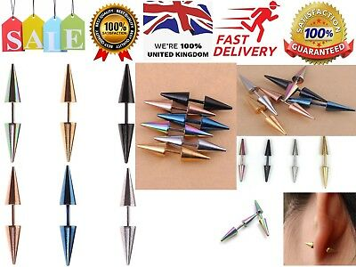 Unisex Goth Punk Biker Rock Stainless Steel Cone Spike Rivet Taper Stud Earrings