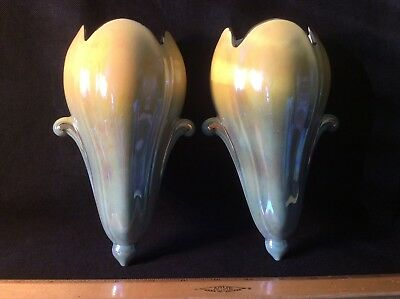 Vintage Royal Winton Pair of Elegant Pocket Wall Vases Yellow and Blue with Gold