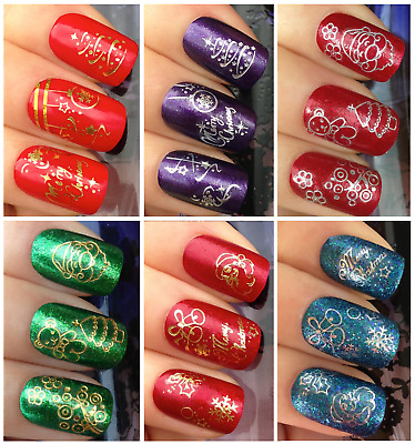 Adesivi Unghie-NATALE-CHRISTMAS-ORO-ARGENTO-Natalizie-Nail Water Decals-Stickers