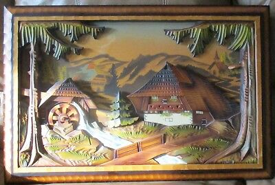 Antique German musical wooden art Reuge Mill in the black forest cabin windmill