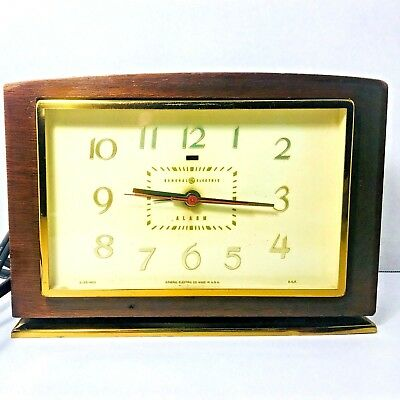 Vintage 1930's Art Deco Alarm Clock GE General Electric Wooden Gold Tone Works