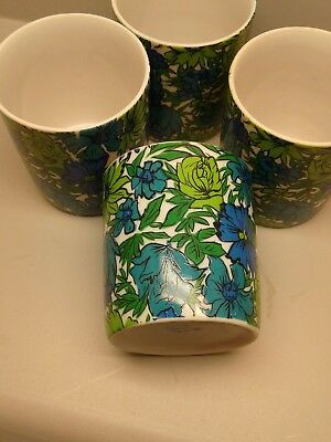 4 1968 Mid Century Holt Howard Footed Custard Cup Floral Flowers 3105