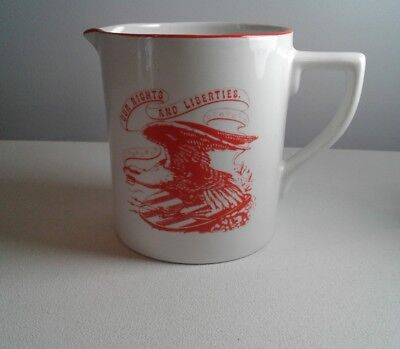 ROYAL CROWNFORD Ironstone Our Rights And Liberties 16 Ounce Pitcher Rare EUC