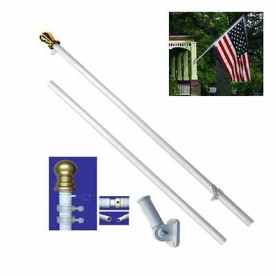 American Flag Pole Kit Wall Mount 6 Ft Spinning 3'x5' US Flag Gold Ball Steel