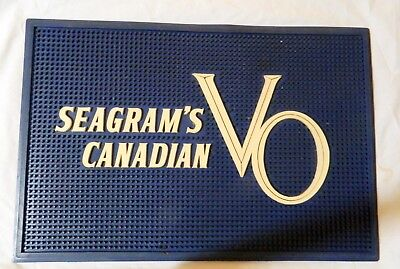 """SEAGRAM'S CANADIAN VO Whiskey Rubber Drain / Drip Bar Mat LARGE 18"""" Man Cave EUC"""