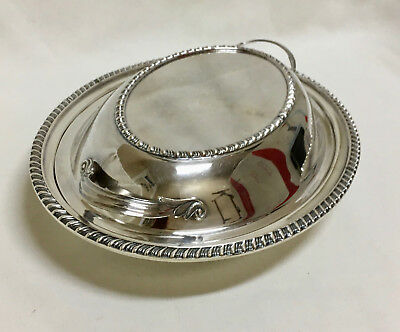 Art Deco Silverplate Covered Serving Dish Sheffield Reproduction Lid Sphinx Mark