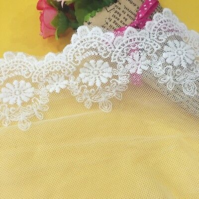 Embroidered Tulle Lace Trim Edge Mesh Wedding Bridal Dress Sewing Crafts 13cm
