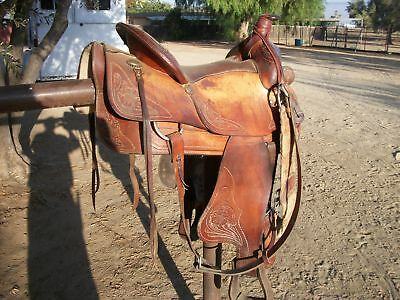 15 IN  ADULT leather western saddle No makers mark