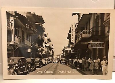 Vintage 1940s Panama RPPC Ave Central Street View Cars Store Signs Postcard