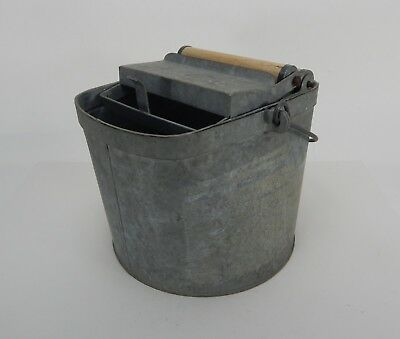 Vintage Deluxe Galvanized Wringer Mop Bucket Made in USA