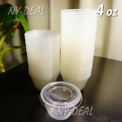 100 ct 4 oz Clear Large Jello Shot Portion Cups with Lids
