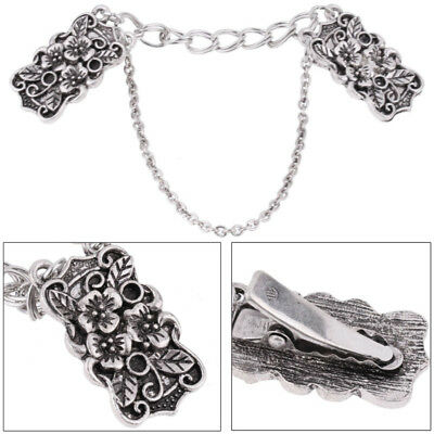 Women Vintage Antiqued Silver Flower Sweater Shawl Cardigan Clips Double Chain