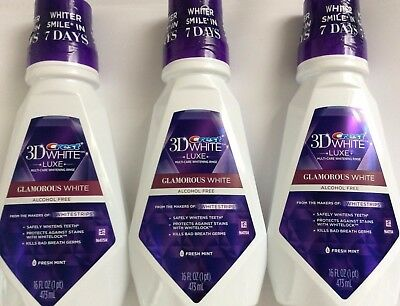 *new* Lot Of 3 Crest 3D White Luxe Multi-Care Whitening Rise Mouthwash