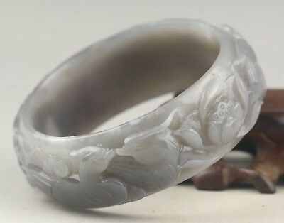 China natural hetian purple jade bangle hand carved phenix and flower Bracelet
