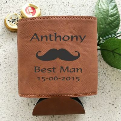 Personalised Wedding Leatherette Stubby Holder Cooler Engraved Groomsman Gift