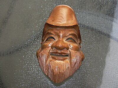 Juroujin God Carved Wood Mask Signed
