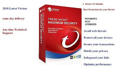 Trend Micro Maximum Security 12 2018 1 YEAR| 2 DEVICE | Windows | MAC | Android