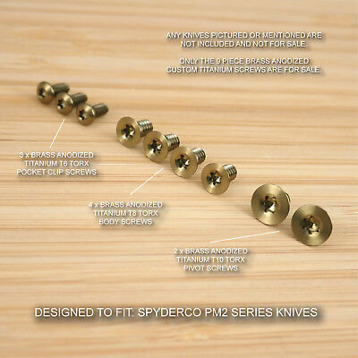 Spyderco Paramilitary PM2 Custom Titanium 9pc BRASS Anodized Screw Set -NO KNIFE