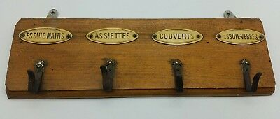 Antique French Wood, Metal & Celluloid Coat Hanger c1920s Early 20th Century