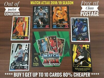 Topps Match Attax 2018/19 Buy 1 Get Upto 10 Cards 80% Cheaper No.181-360 & T1-T6