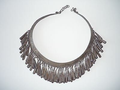 Impressive Large SE Asia Hilltribe Silver Necklace w/ Pendants Laos