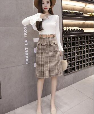 4240fd3f36 Elegant Korean Style High Waist Plaids Checks Slim Wrap Hip Winter Wool  Skirt